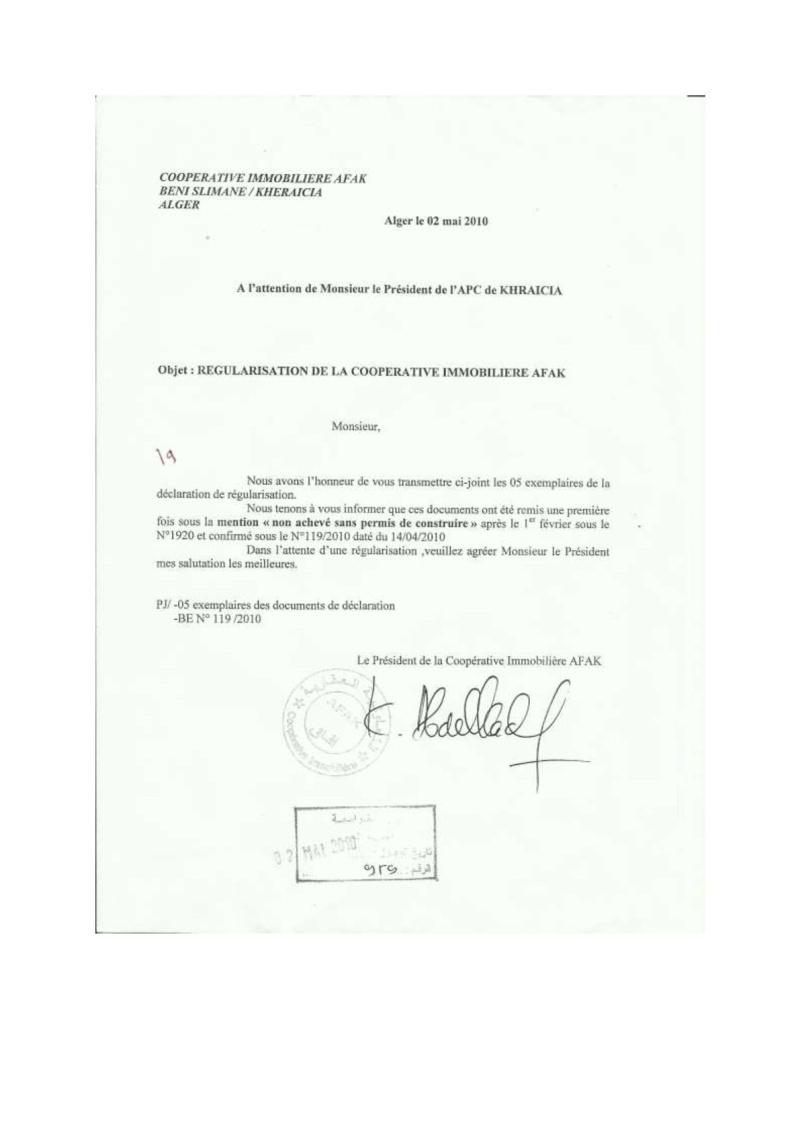 Documents officiels concernant le projet AFAK dans l'ordre chrologique 2010-010
