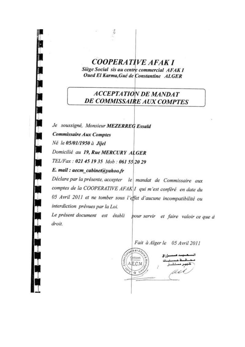 Documents officiels concernant le projet AFAK dans l'ordre chrologique 2011-020