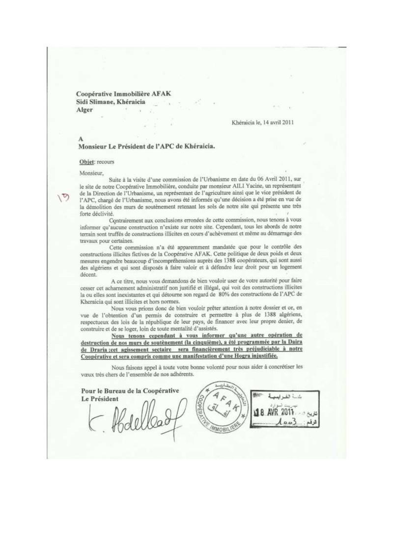 Documents officiels concernant le projet AFAK dans l'ordre chrologique 2011-026