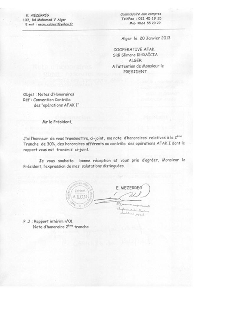 Documents officiels concernant le projet AFAK dans l'ordre chrologique 2011-027