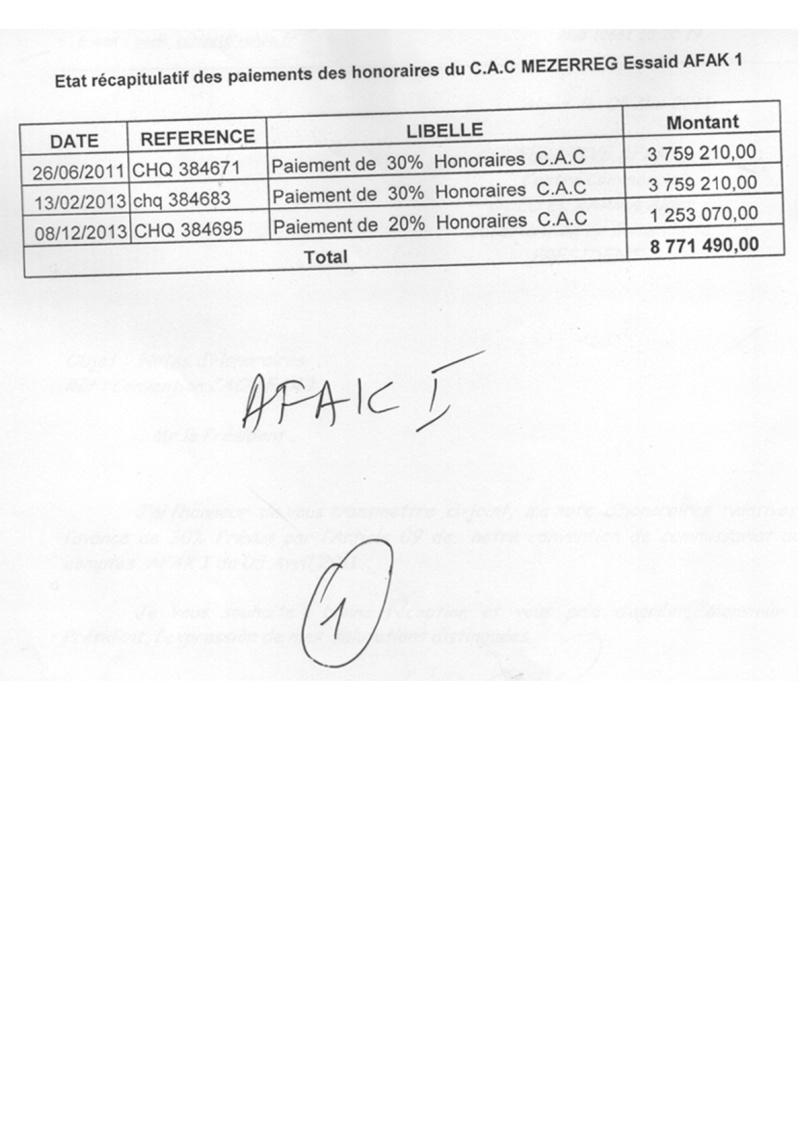 Documents officiels concernant le projet AFAK dans l'ordre chrologique 2011-028