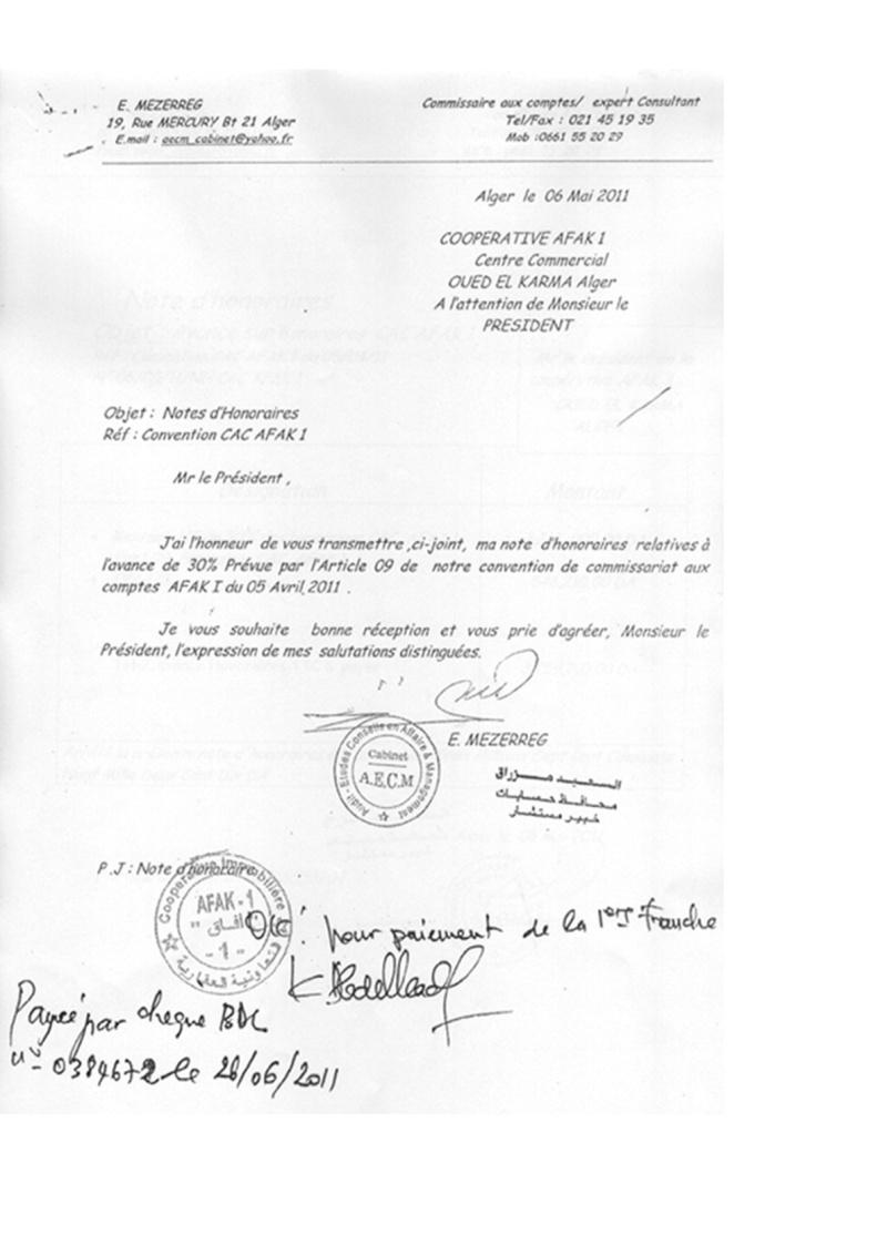 Documents officiels concernant le projet AFAK dans l'ordre chrologique 2011-029