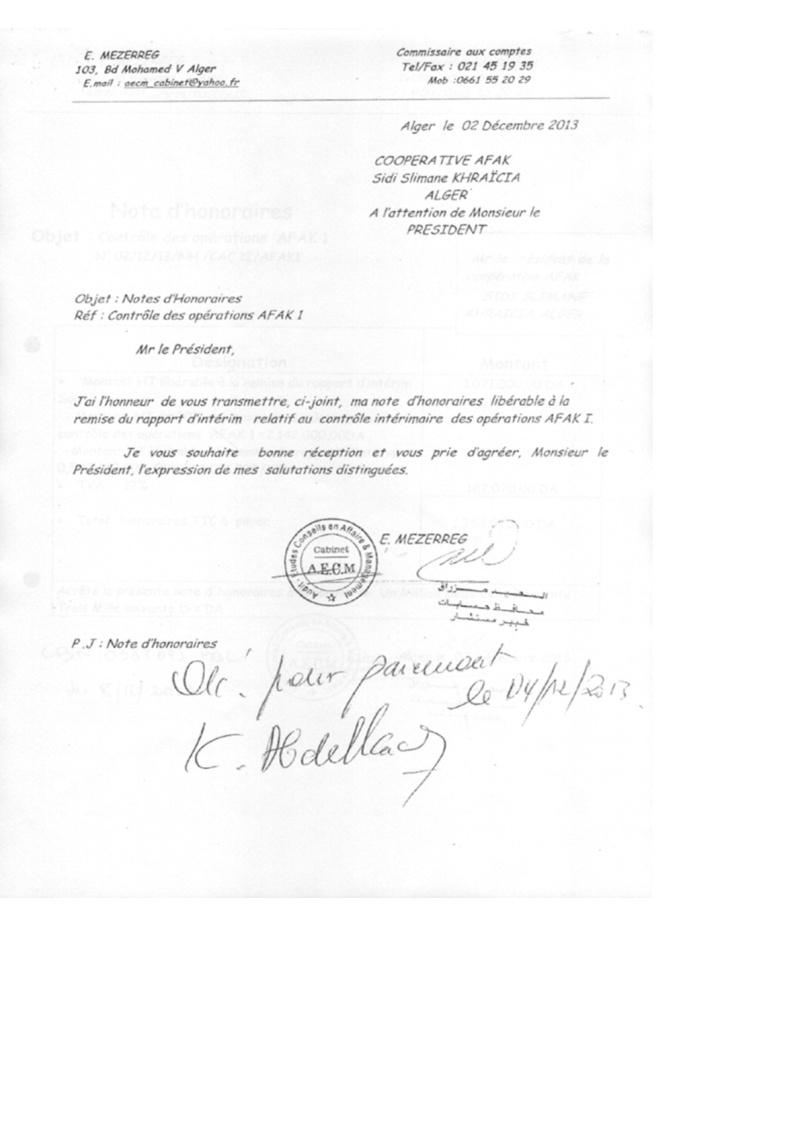 Documents officiels concernant le projet AFAK dans l'ordre chrologique 2011-032