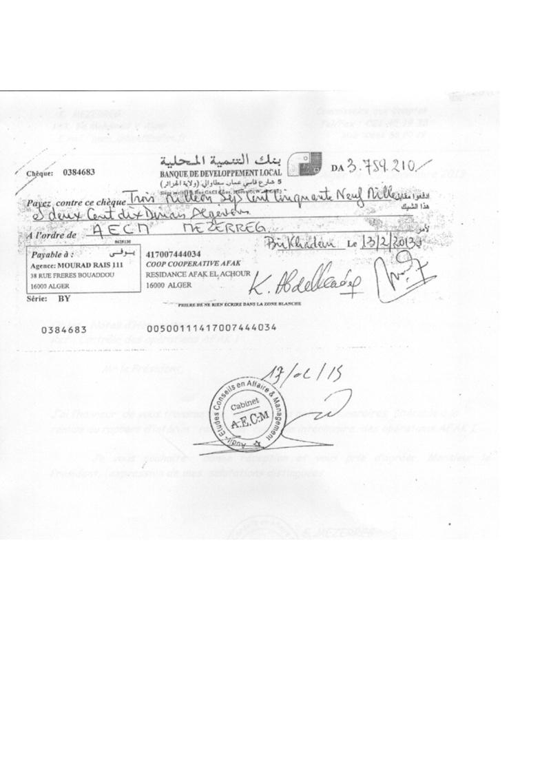 Documents officiels concernant le projet AFAK dans l'ordre chrologique 2011-033