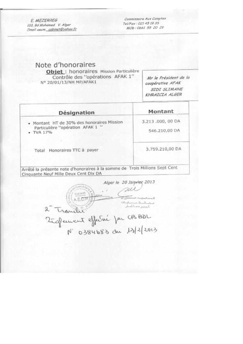Documents officiels concernant le projet AFAK dans l'ordre chrologique 2011-034
