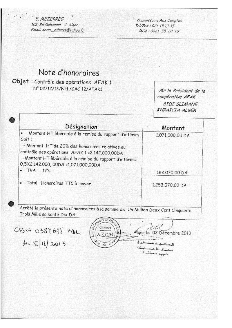 Documents officiels concernant le projet AFAK dans l'ordre chrologique 2011-037