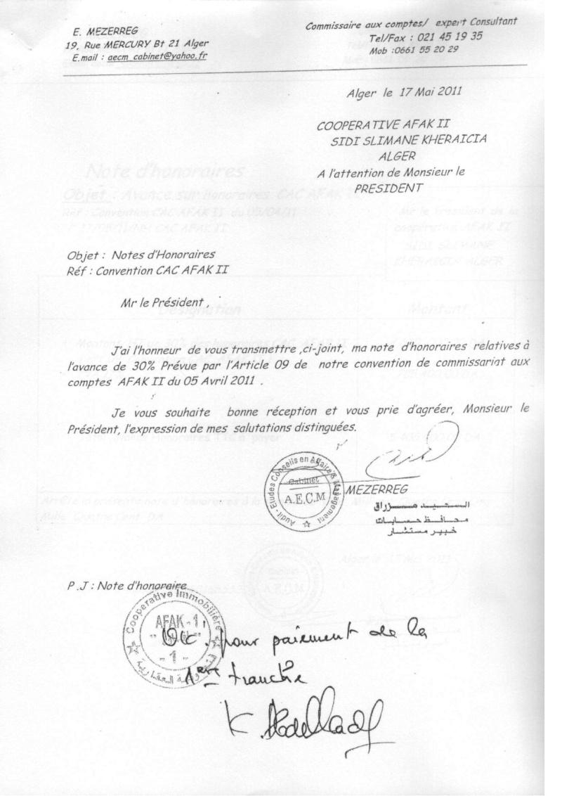 Documents officiels concernant le projet AFAK dans l'ordre chrologique 2011-038