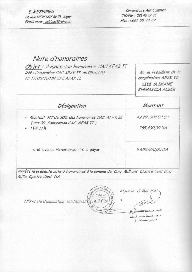 Documents officiels concernant le projet AFAK dans l'ordre chrologique 2011-040