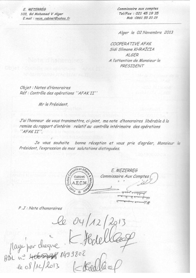 Documents officiels concernant le projet AFAK dans l'ordre chrologique 2011-041
