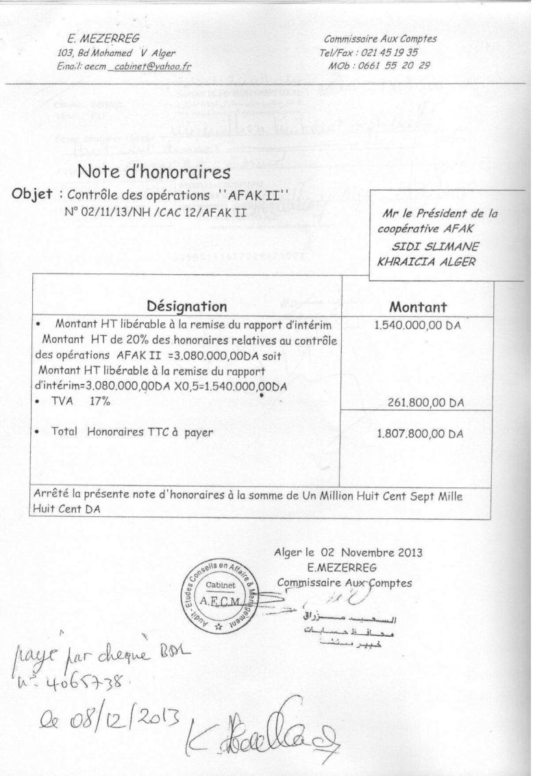 Documents officiels concernant le projet AFAK dans l'ordre chrologique 2011-042