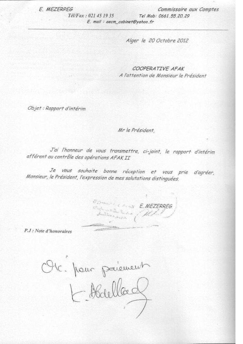 Documents officiels concernant le projet AFAK dans l'ordre chrologique 2011-045