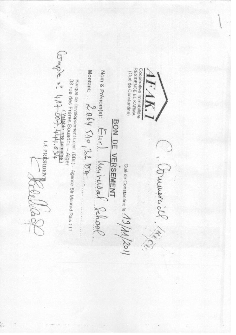 Documents officiels concernant le projet AFAK dans l'ordre chrologique 2011-116