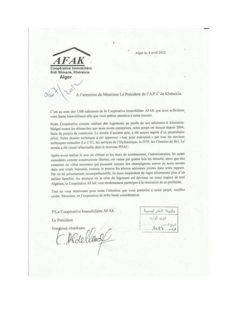 Documents officiels concernant le projet AFAK dans l'ordre chrologique 2012-010