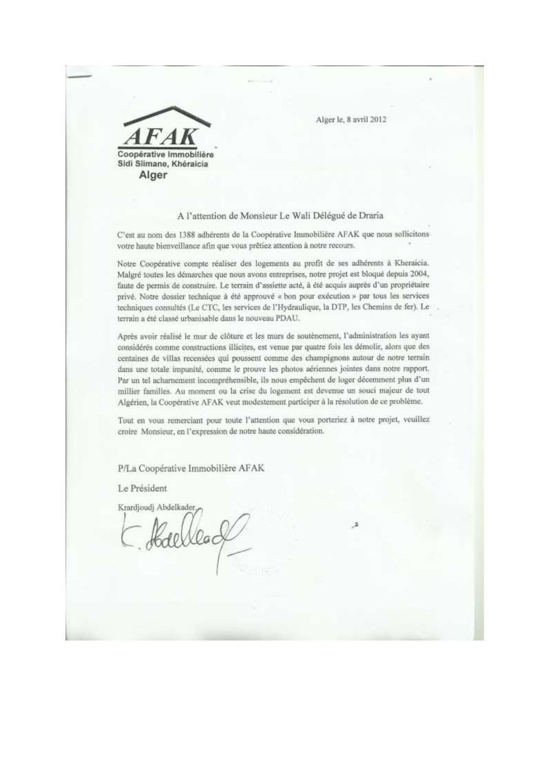 Documents officiels concernant le projet AFAK dans l'ordre chrologique 2012-012