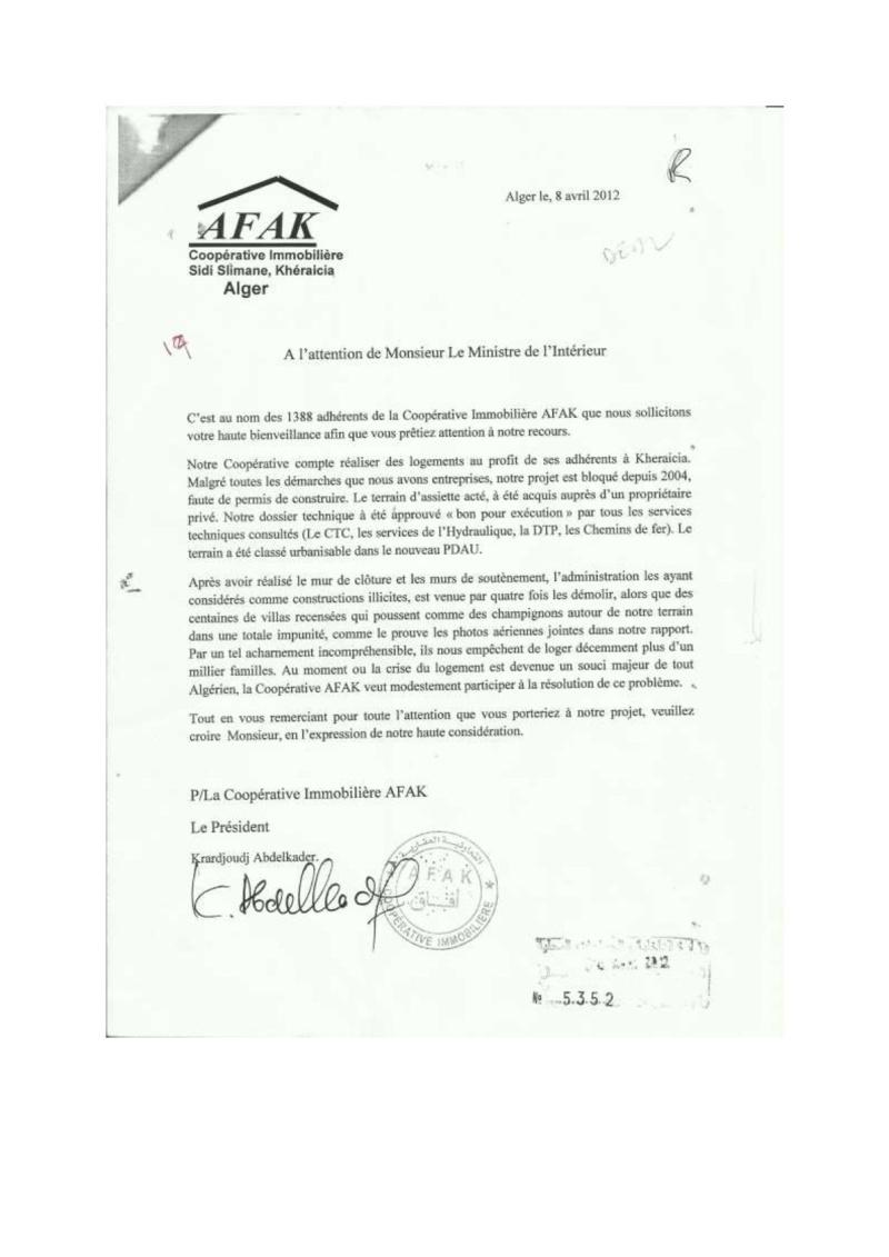 Documents officiels concernant le projet AFAK dans l'ordre chrologique 2012-013