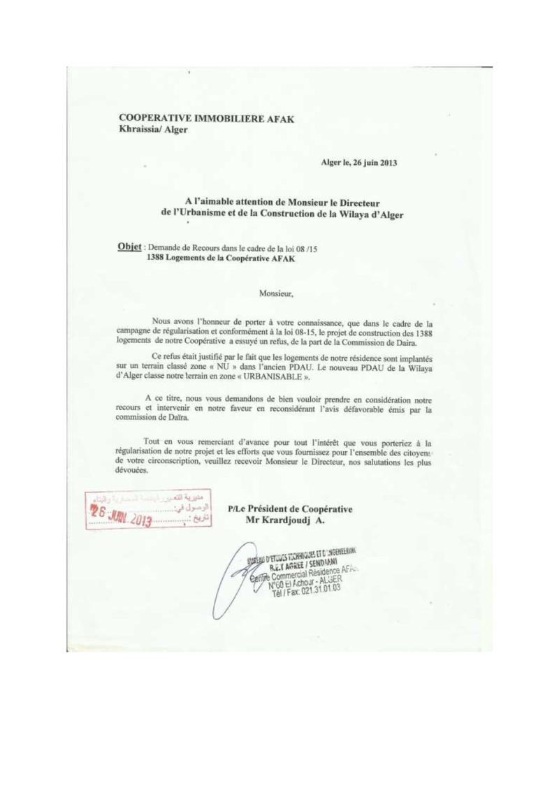 Documents officiels concernant le projet AFAK dans l'ordre chrologique 2013-038