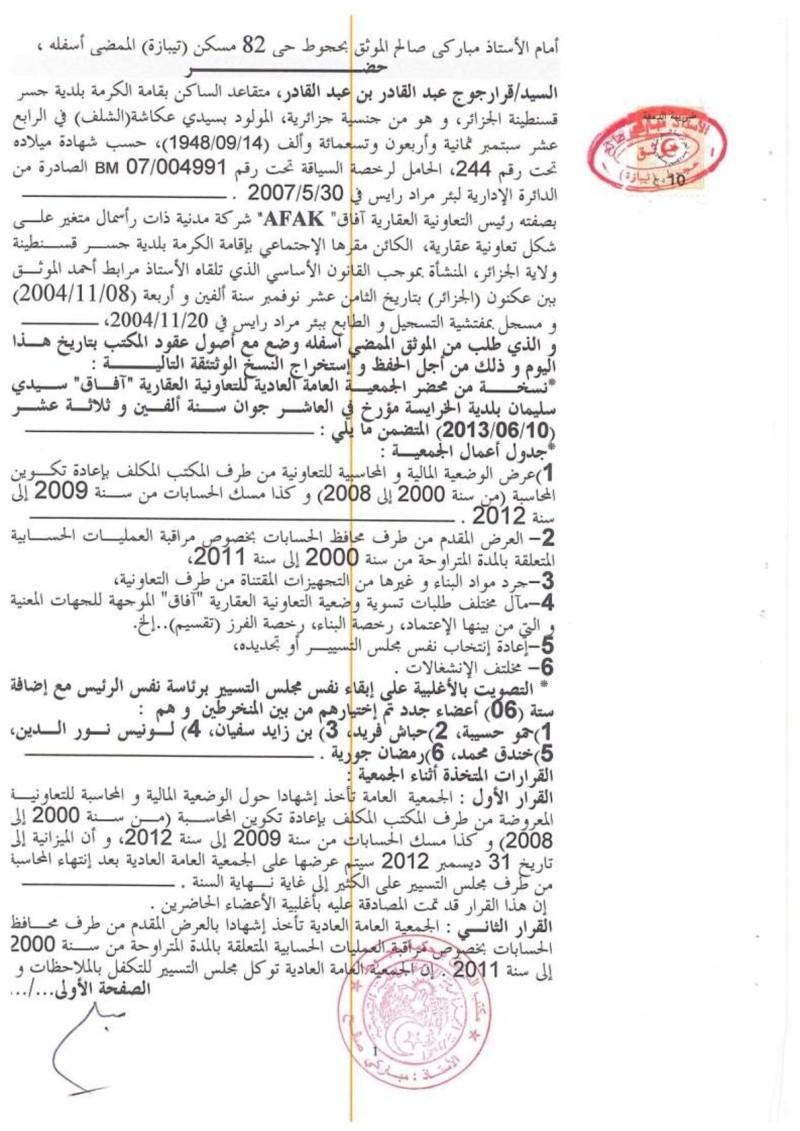 Documents officiels concernant le projet AFAK dans l'ordre chrologique 2013-040