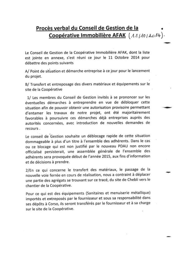 Documents officiels concernant le projet AFAK dans l'ordre chrologique 2014-114