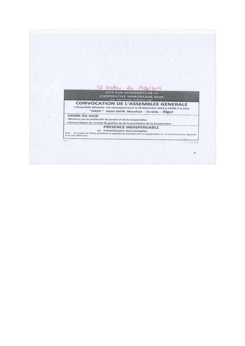 Documents officiels concernant le projet AFAK dans l'ordre chrologique 2014-130