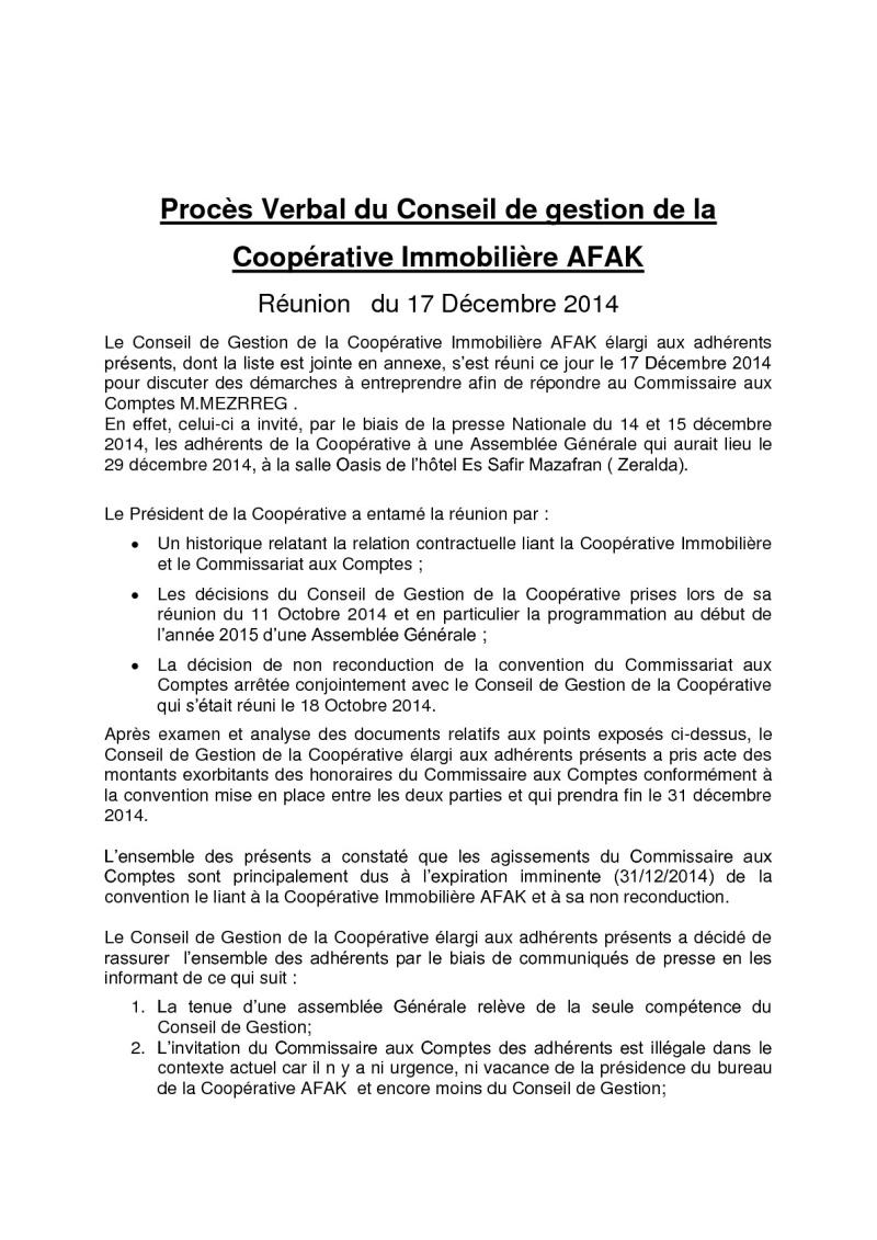 Documents officiels concernant le projet AFAK dans l'ordre chrologique 2014-132