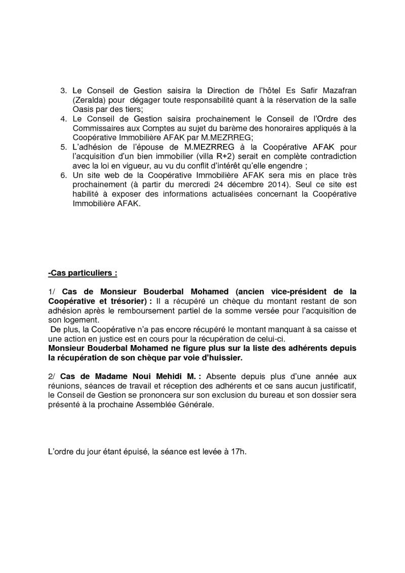Documents officiels concernant le projet AFAK dans l'ordre chrologique 2014-133