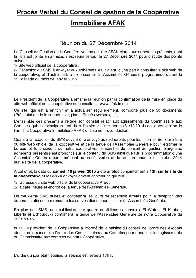 Documents officiels concernant le projet AFAK dans l'ordre chrologique 2014-135