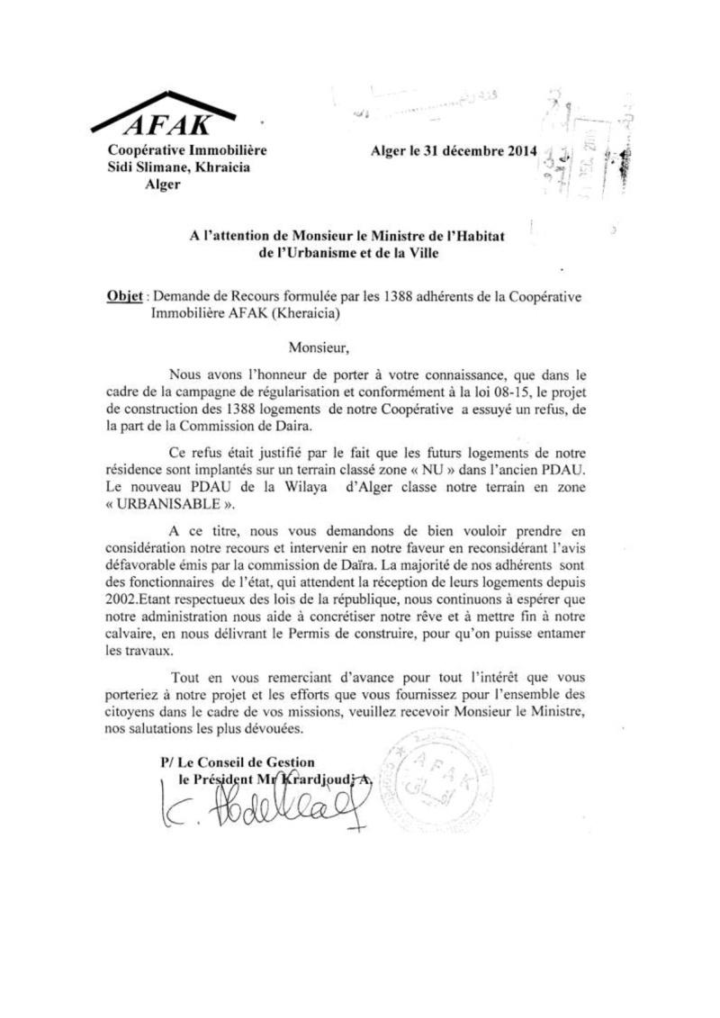 Documents officiels concernant le projet AFAK dans l'ordre chrologique 2014-136