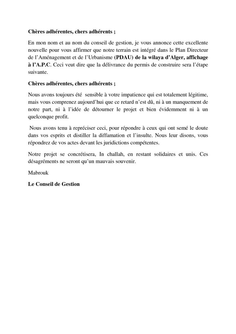 Documents officiels concernant le projet AFAK dans l'ordre chrologique 2015-018