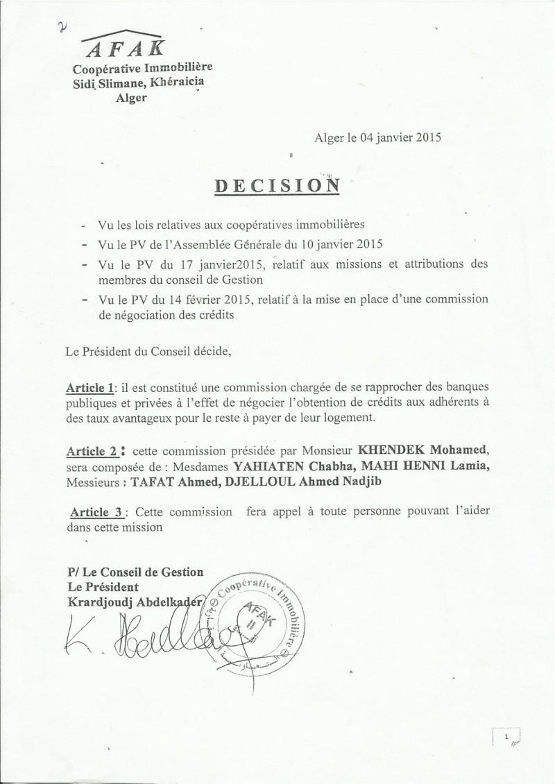 Documents officiels concernant le projet AFAK dans l'ordre chrologique 2015-020