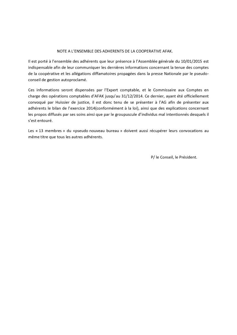 Documents officiels concernant le projet AFAK dans l'ordre chrologique 2015-022