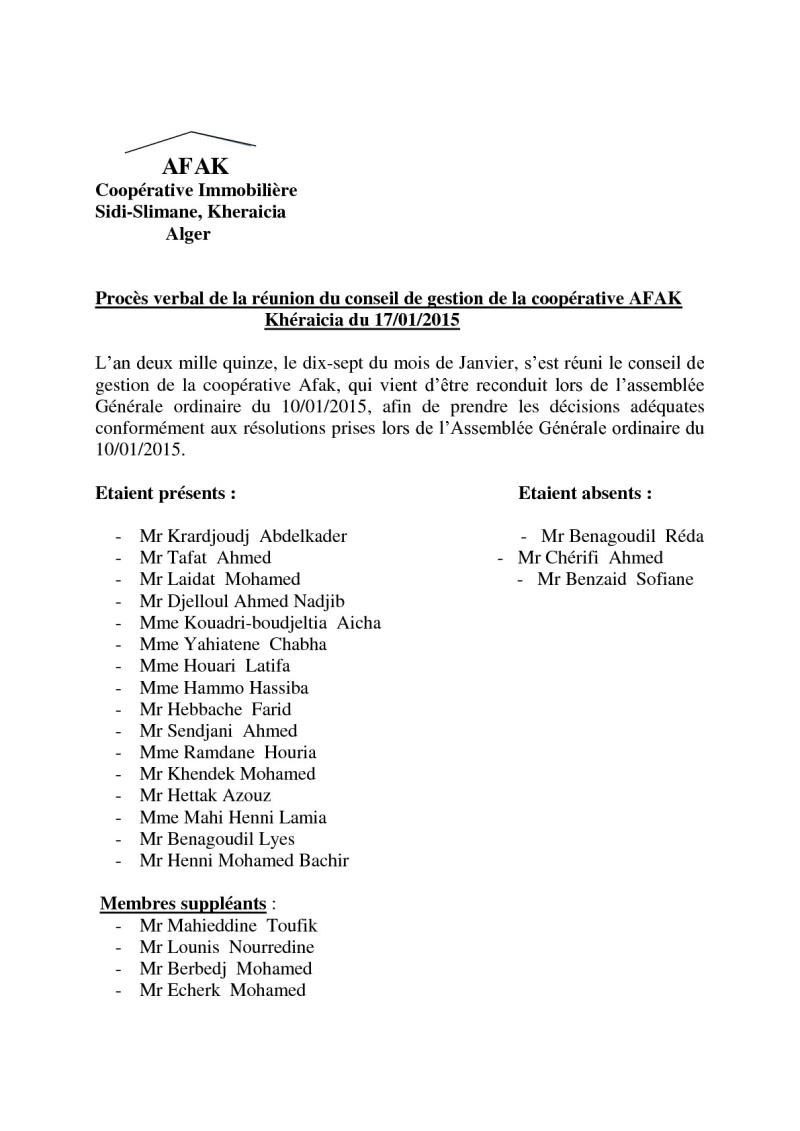 Documents officiels concernant le projet AFAK dans l'ordre chrologique 2015-040