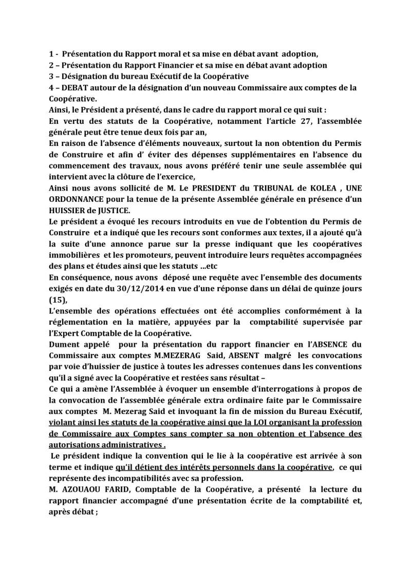 Documents officiels concernant le projet AFAK dans l'ordre chrologique 2015-042