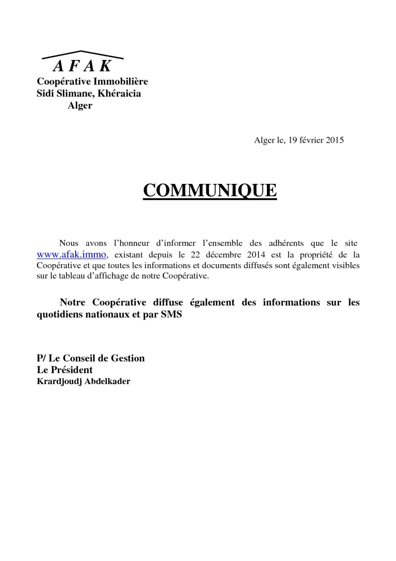 Documents officiels concernant le projet AFAK dans l'ordre chrologique 2015-043