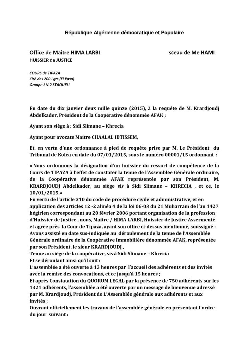Documents officiels concernant le projet AFAK dans l'ordre chrologique 2015-045