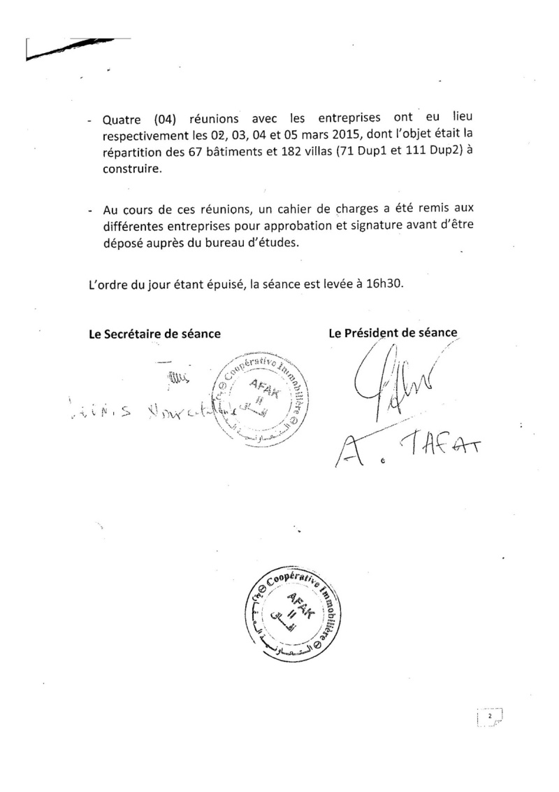Documents officiels concernant le projet AFAK dans l'ordre chrologique 2015-046