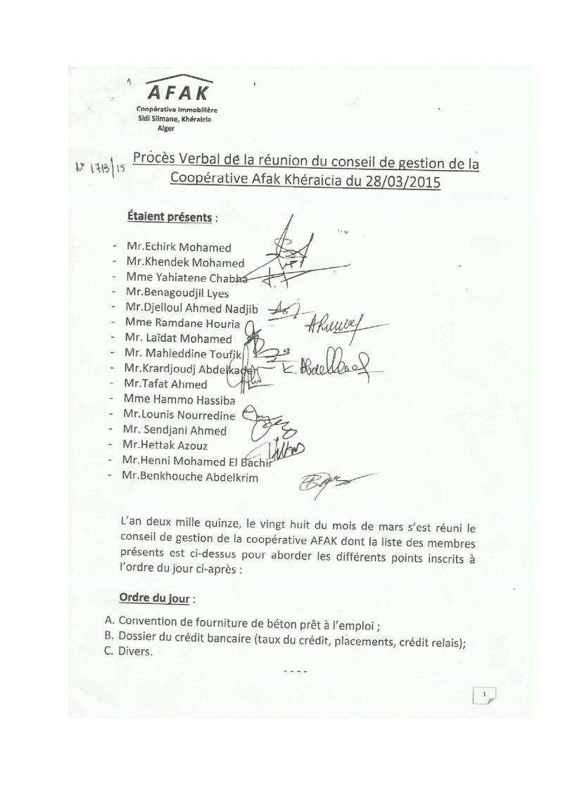 Documents officiels concernant le projet AFAK dans l'ordre chrologique 2015-103