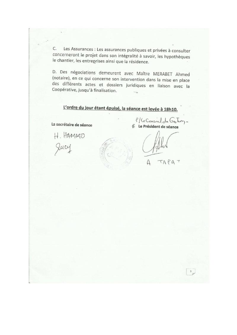 Documents officiels concernant le projet AFAK dans l'ordre chrologique 2015-105