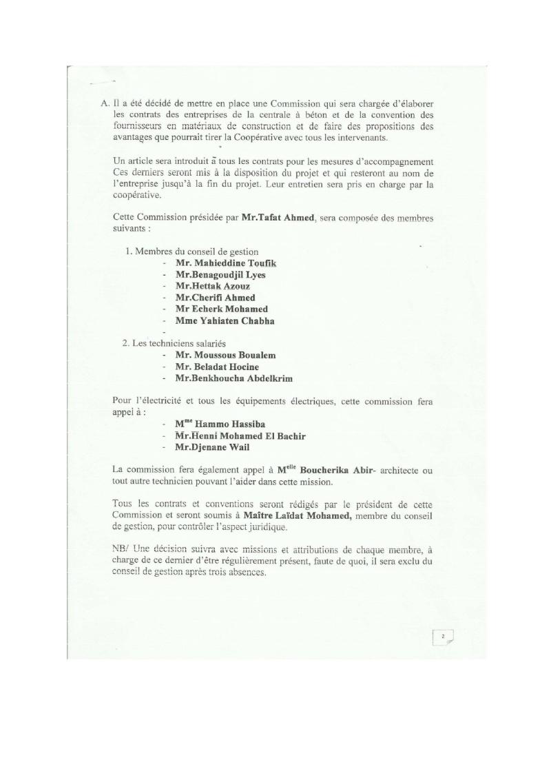 Documents officiels concernant le projet AFAK dans l'ordre chrologique 2015-109