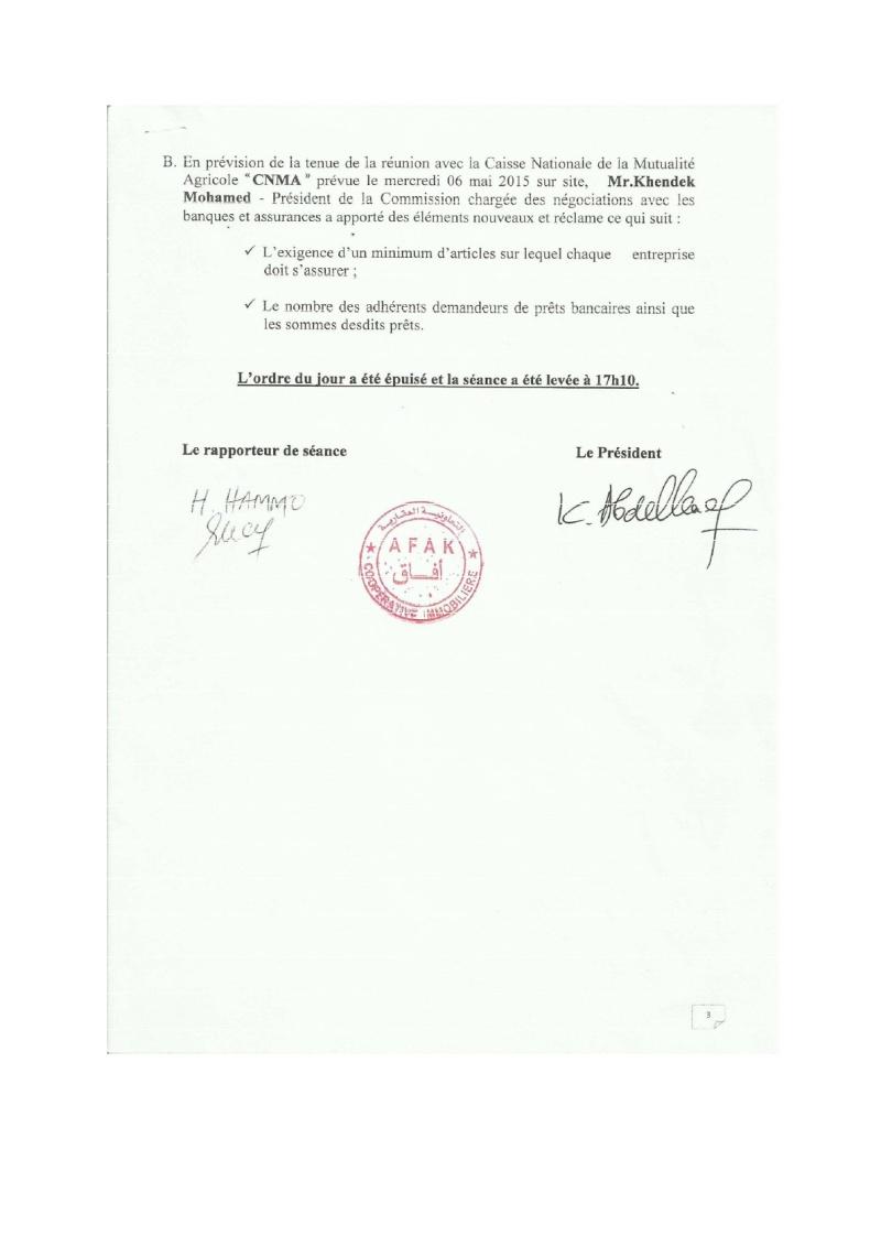 Documents officiels concernant le projet AFAK dans l'ordre chrologique 2015-112