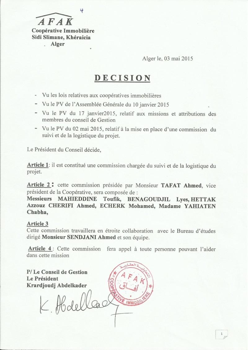 Documents officiels concernant le projet AFAK dans l'ordre chrologique 2015-114