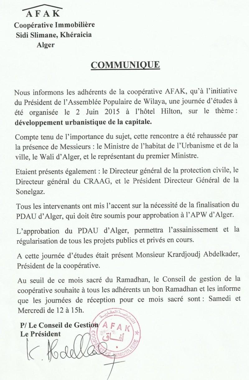 Documents officiels concernant le projet AFAK dans l'ordre chrologique 2015-150
