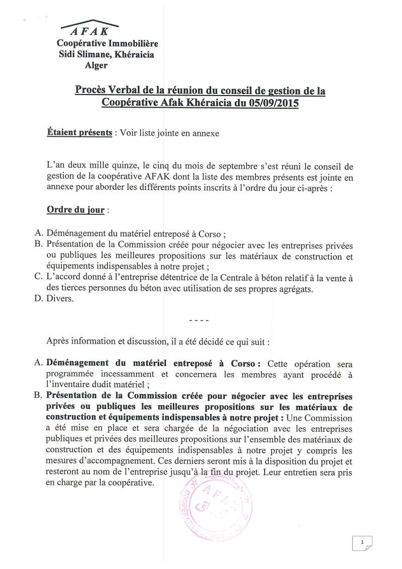 Documents officiels concernant le projet AFAK dans l'ordre chrologique 2015-151