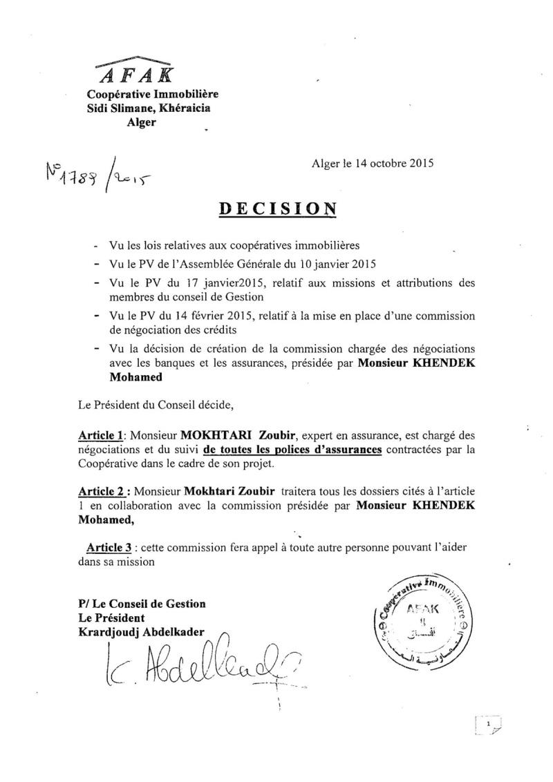 Documents officiels concernant le projet AFAK dans l'ordre chrologique 2015-159