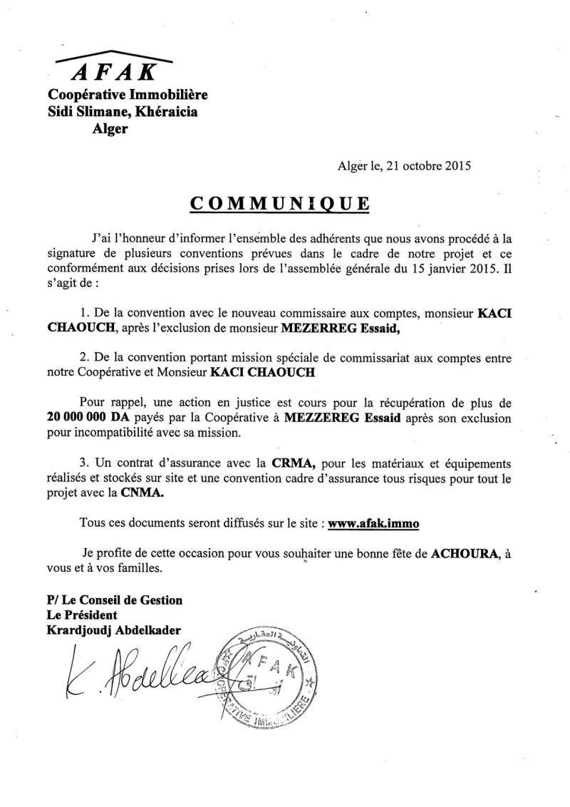 Documents officiels concernant le projet AFAK dans l'ordre chrologique 2015-160