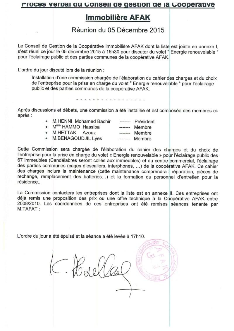 Documents officiels concernant le projet AFAK dans l'ordre chrologique 2015-162