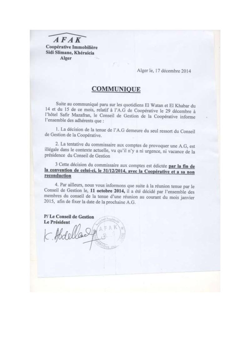 Documents officiels concernant le projet AFAK dans l'ordre chrologique 2015-165