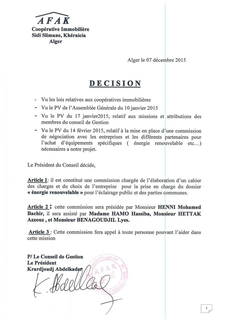 Documents officiels concernant le projet AFAK dans l'ordre chrologique 2015-166