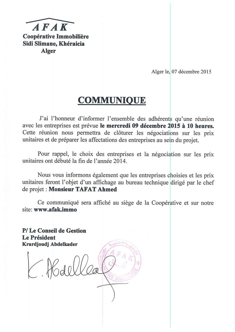 Documents officiels concernant le projet AFAK dans l'ordre chrologique 2015-167