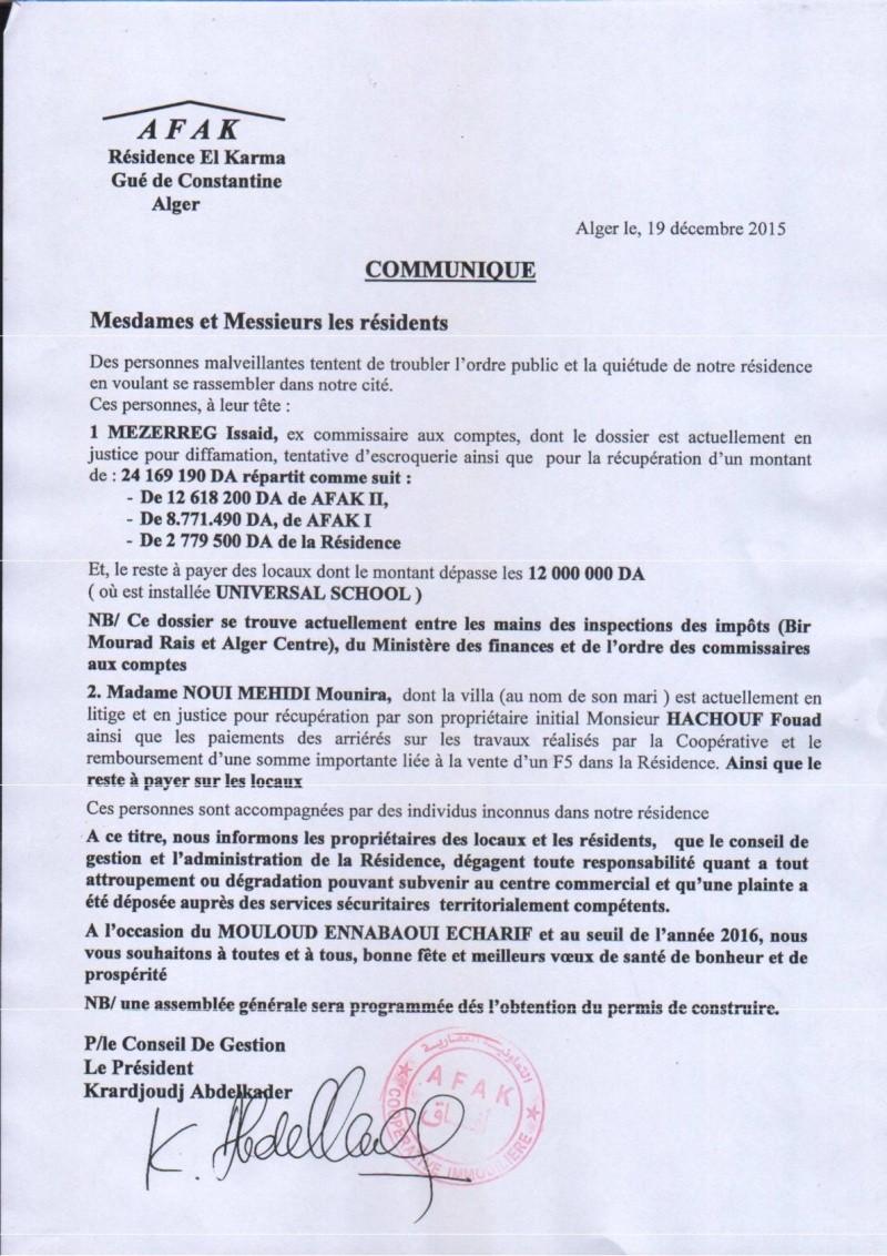 Documents officiels concernant le projet AFAK dans l'ordre chrologique 2015-169