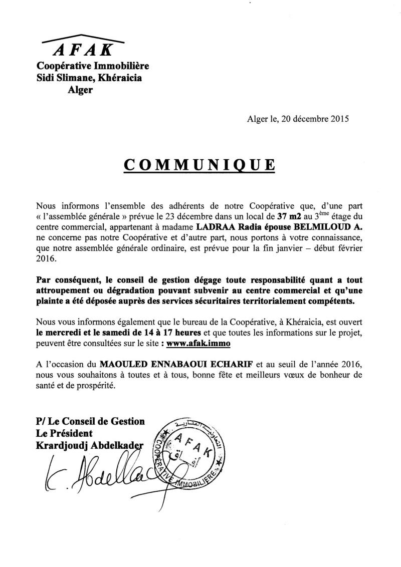 Documents officiels concernant le projet AFAK dans l'ordre chrologique 2015-171